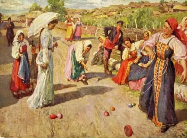 Катание яиц в праздник